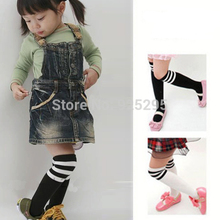 Preppy Style Baby Kids Knee Stockings Black White Striped Cotton Stocking for 2-7Years