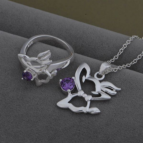 AS533 Trendy silver Jewelry Sets Ring 480 + Necklace 932 /axnajoua bykakpra - jewelry2013 store