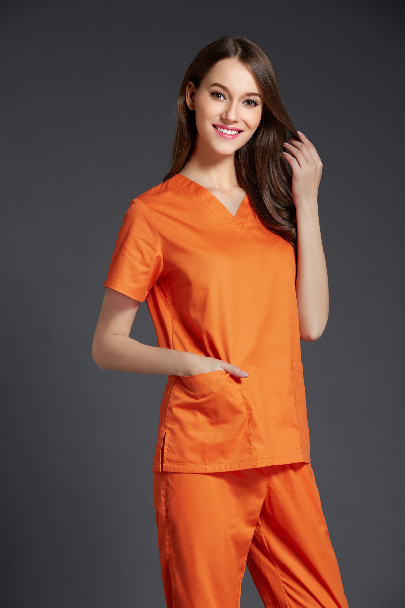 Surgical Cap Special Offer 2016 New Arrival Women's Short Sleeve Medical Scrub Uniforms Set Dental Hospital Clothes Bright Color(China (Mainland))