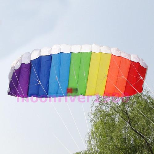 A25 Free Shipping Power Dual Line Stunt Parafoil Parachute Rainbow Sports Beach Kite For Beginner(China (Mainland))