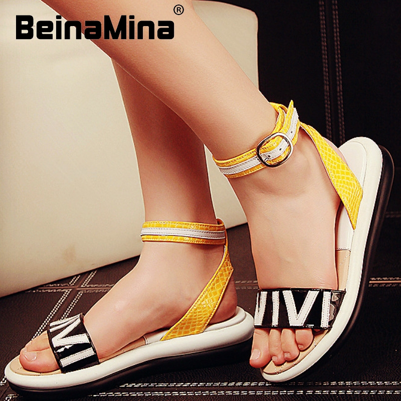 women real genuine leather mixed color ankle strap leisure flat sandals sexy fashion brand heeled ladies shoes size 34-39 R6287<br><br>Aliexpress