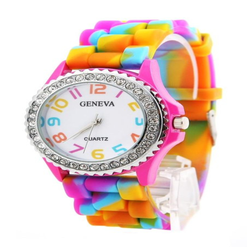 Excellent Quality Women's Quartz Watches New Geneva Rainbow Crystal Rhinestone Watch Silicone Jelly Link Band(China (Mainland))