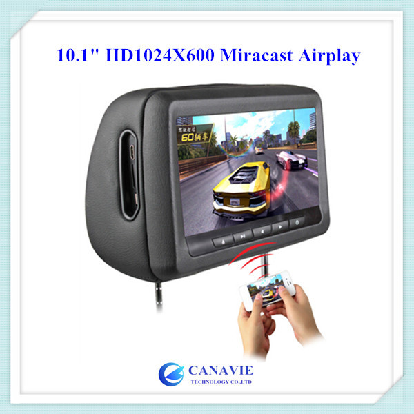 "10.1"" HD1024X600 Touch Screen Headrest Car DVD Player Monitor MirrorLink Miracast Airplay 32Bit Game SD USB IR FM Transmitter(China (Mainland))"