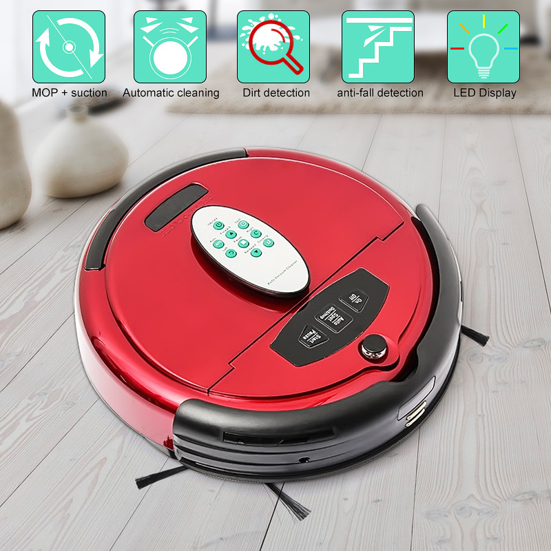 New Red Auto Floor Vacuum Cleaner Robot Smart Robotic Automatical Dust Intelligent Voice Function Durable(China (Mainland))