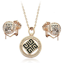 Free Shipping Wholesale Jewelry Big Brand Design Retro Decorative Design Crystal Necklace and Earring Sets(S220458)(China (Mainland))