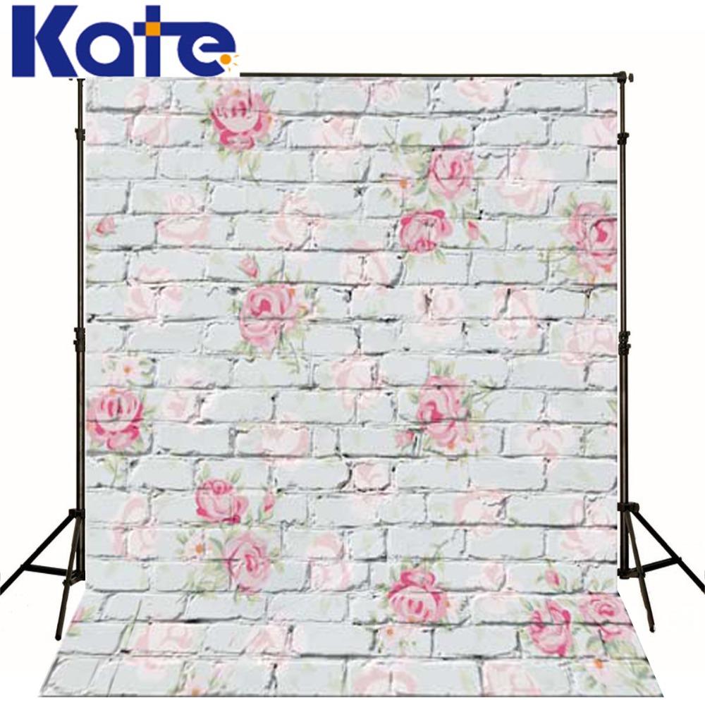 Kate Digital Printing Photo Studio Backdrop Retro Brick Wall Pink Flowers For Newborn Child Photography Background(China (Mainland))
