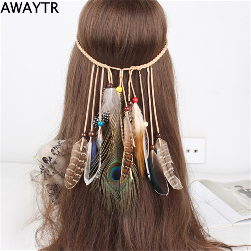 AWAYT Women Hair Accessories Bohemian Feather Festival Headband Hippie Ethnic High Spirit Decorated Hair Jewelry 2016(China (Mainland))