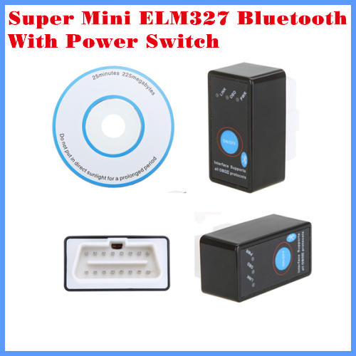 New Arrival Diagnostic Tool code reader OBDII/OBD/CAN Super mini ELM327 Bluetooth V2.1 with power switch free shipping
