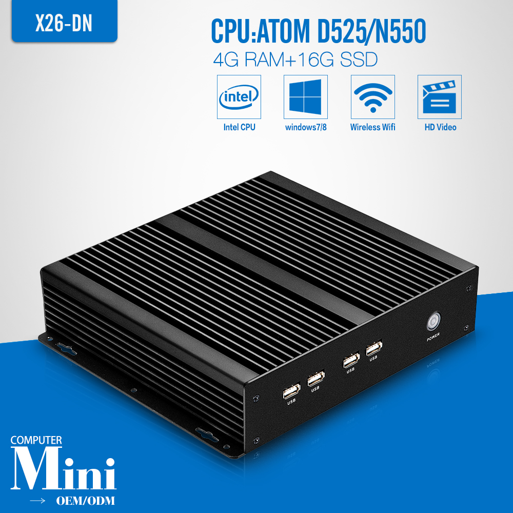 Fanless Design pc computer htpc metal shell mini pc X26-DN D525 2*rs232 ports 4g ram 16g ssd with wifi support Ubuntu Linux(China (Mainland))