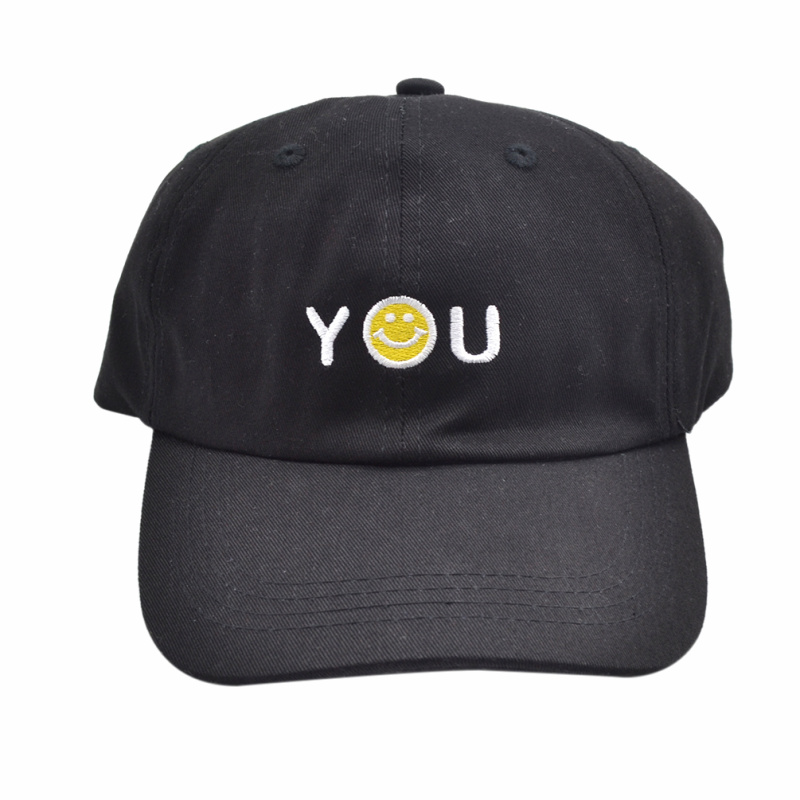 1 piece YOU Letter Smiley Face Embroidery Baseball Cap Adjustable Men Women Unisex Sports Snapback Hat(China (Mainland))