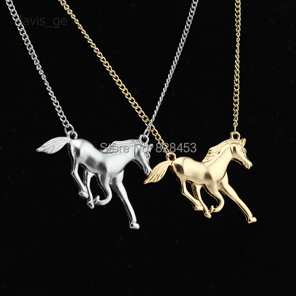 2015 New Hot Sell Fashion Gold/Silver Plated Jewelry Running Horse Pendant Short Necklace EE01Free Shipping(China (Mainland))
