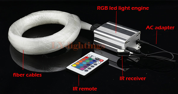 DIY home decoration optic fiber light kit led source+ps end glow fibres RGB color change star wireless IR remote  -  LY-Lightings store