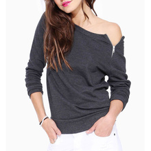 2016 Spring Fashion Solid Color Sexy Long-sleeved Side Zipper t Shirt Women Casual Women Clothing Tops(China (Mainland))