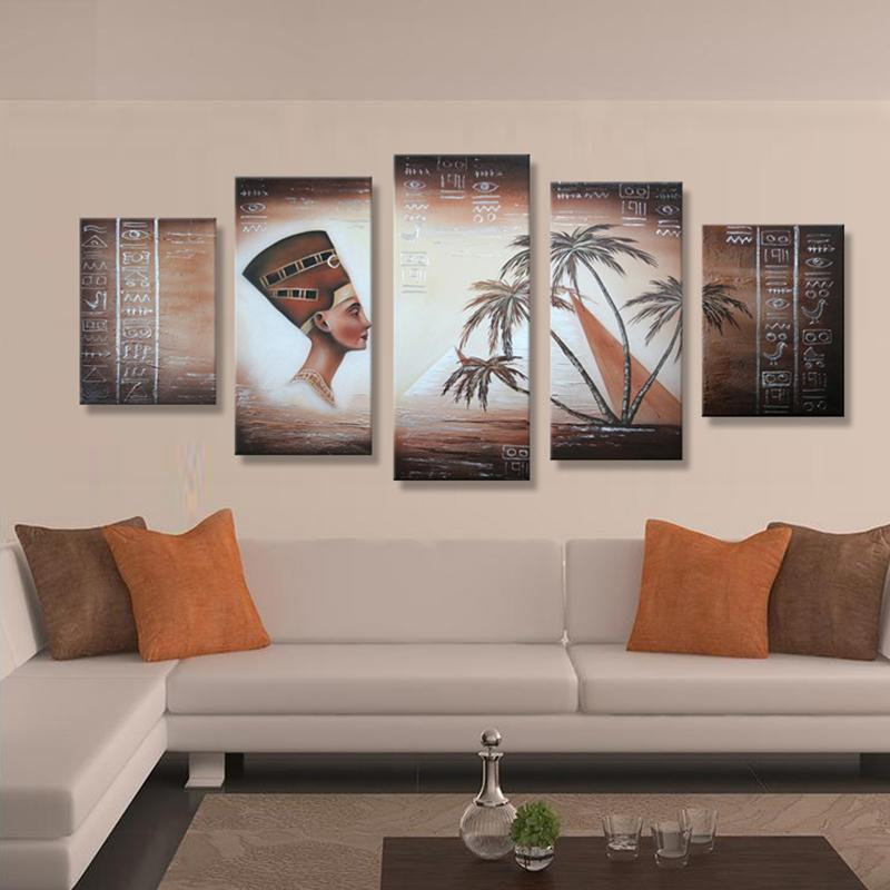 handmade buddha oil painting on canvas from china home goods wall art decoration 5 panels no framed for sale online(China (Mainland))