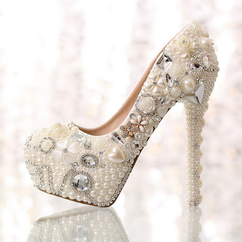 Love pearl rhinestone wedding shoes platform shoes bride crystal shoes high-heeled shoes shallow mouth womens shoes pumps 14cm<br>