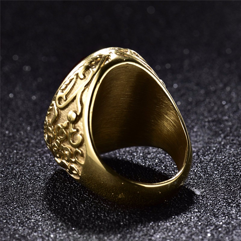 GULICX New Arrival Gold-color Band Stainless Steel Ring for Men Punk Red/Green/Blue Princess Cut Crystal Jewelry BR172