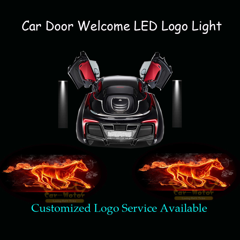2x 3D Flaming Horse Logo Wired Car Door Welcome Courtesy Laser Projector Shadow Puddle CREE LED Light for Ford Mustang 1008(China (Mainland))