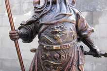 """15""""Chinese Pure Red Bronze Dragon Guan Gong warrior general Statue(China (Mainland))"""