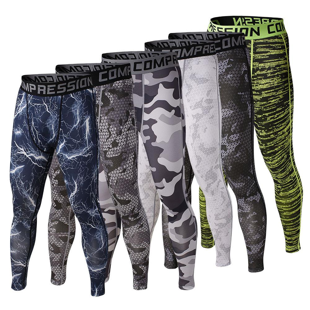 Men compression long pants spandex running base layers skins tights army camouflage soccer pants men s
