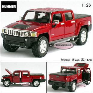 New 1:26 Hummer H3T 2009 Diecast Model Car With Box Claret-red Toy Collection B358(China (Mainland))