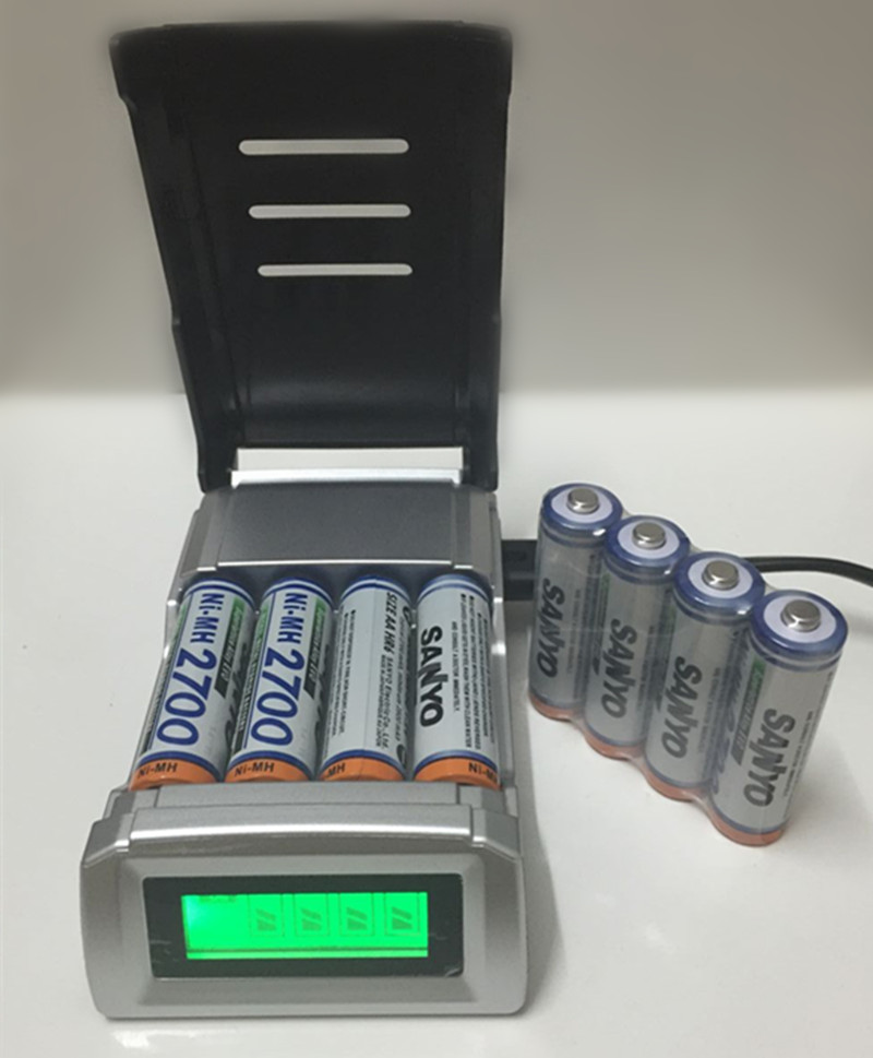 8PCS/lot FOR SANYO 1.2V AA 2700mAh Rechargeable battery + 4 slots AA AAA battery charger CAN charge alkaline NiMH NiCd battery(China (Mainland))