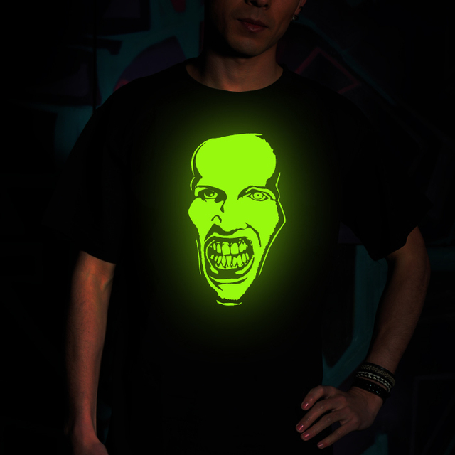Freeshipping 2013 new summer Short-sleeved Punk Nightclubs Creative personality Marilyn Manson band glow T-shirt, roar shirts