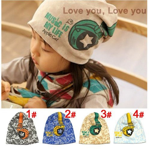 Beanies, Headphones pattern  Children Hats, Baby hat  Spring hat caps Infant Cap 10pcs/lot Free Shipping
