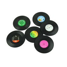 Hoe selling 6Pcs/Set Spinning Retro Vinyl Record Drinks Coasters / Vinyl Coaster Cup Mat(China (Mainland))