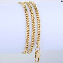 CUSTOMIZED 3MM Womens Girls Chain Flat Cut Round Curb Cuban Necklace 18K Rose Gold Filled Necklace