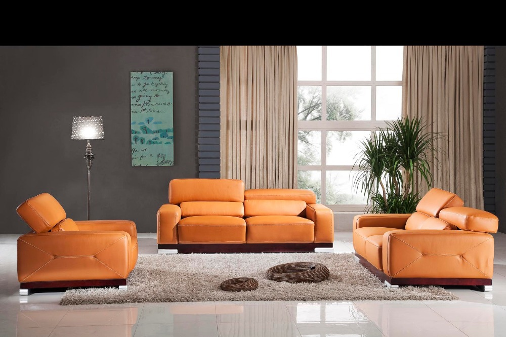 designer modern style top graded cow genuine leather corner living room sofa set suite home furniture shipping to port(China (Mainland))