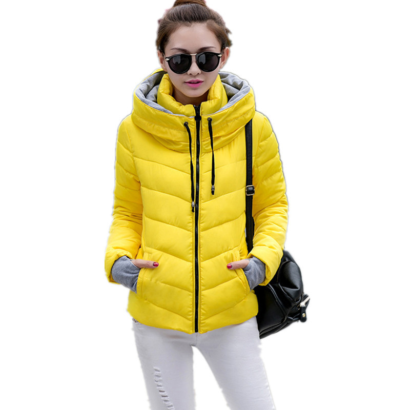 New Casual 2015 Winter Solid Eiderdown Cotton Hooded Jacket to Wear Gloves Plus Size 11color Down & Parkas for Women Warm Winter