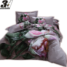 King Queen double bed size bedclothes 3d Flowers bedding set 100 Cotton Doona duvet/comforter/quilt cover sheet pillowcase sets(China (Mainland))