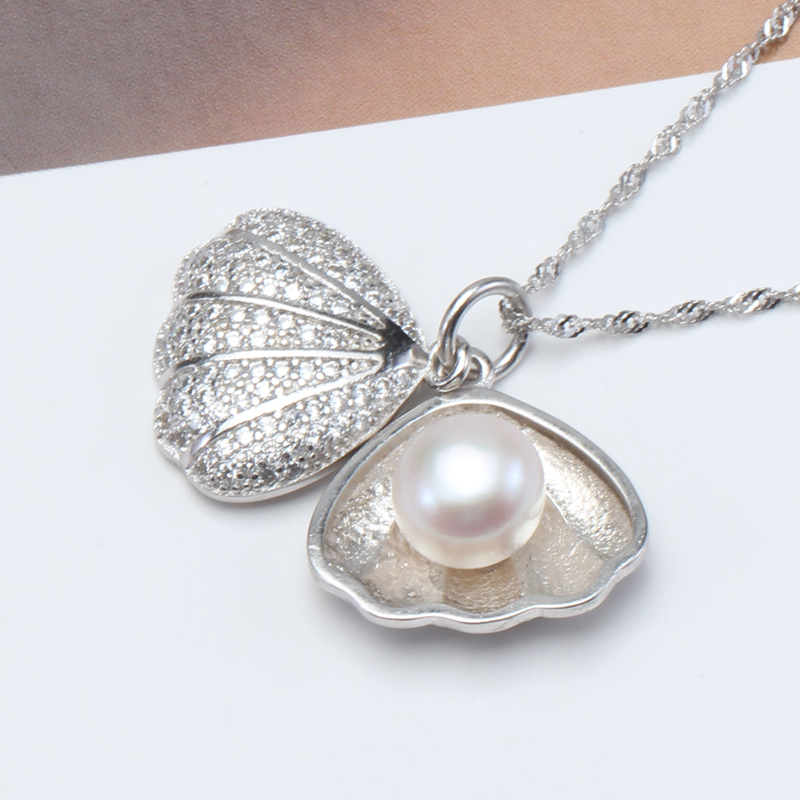 2016 Women Fashion Pearl Pendant 925 Silver Pearl Jewelry,Natural Pearl Pendant Necklace,Freshwater Pearl Silver Choker Necklace(China (Mainland))