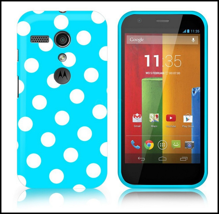 1PCS Polka Dots Points Soft rubber tpu phone bags cases for motorola Moto G dvx xt1032 covers skin with 10th color Drop shipping(China (Mainland))
