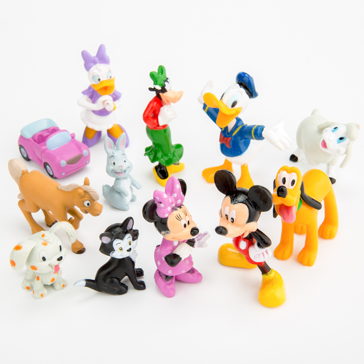 12pcs/set Q version Mickey Minnie Donlad Duck doll toys children doll ornaments Automotive birthday cake Decoration(China (Mainland))