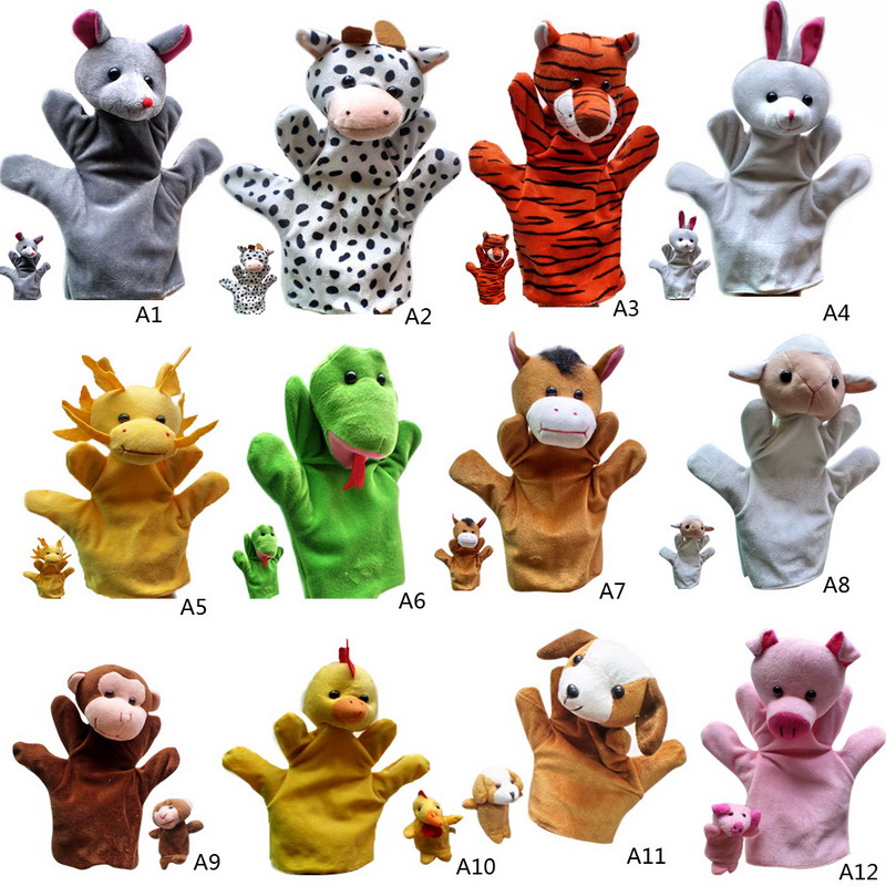 2 PC Baby Plush Toys Cartoon Happy Family Fun Animal Finger Hand Puppet Kids Learning & Education Toys Gifts VBQ38 P50(China (Mainland))