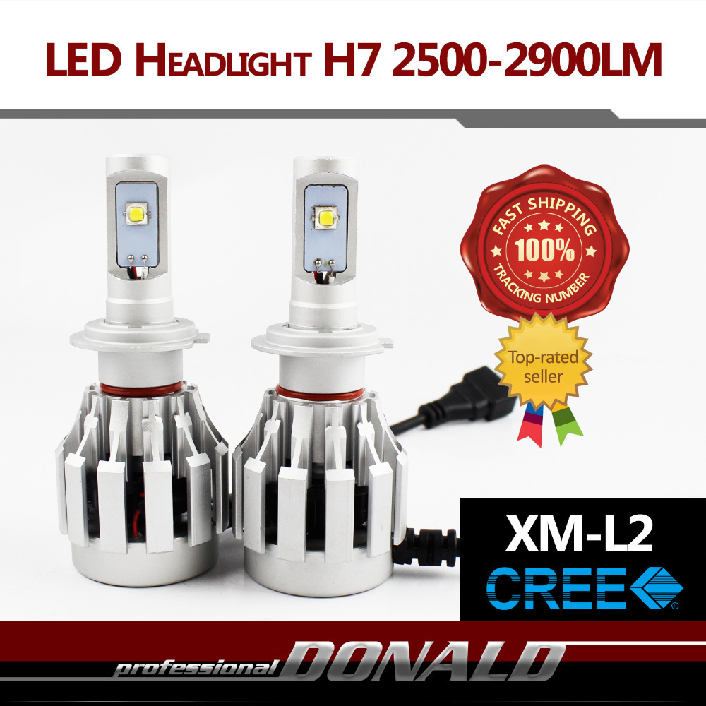2x H7 High Power 40W 5000-5800LM CREE XM-L2 LED Car Headlight Bright White Fog Headlight W/ Fans No Need Ballasts Just Plug&Play(China (Mainland))