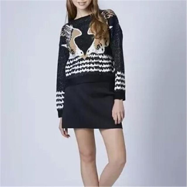 Женщины поцелуи птицы орел pattern пуловеры старинные О-Образным Вырезом с длинным ...