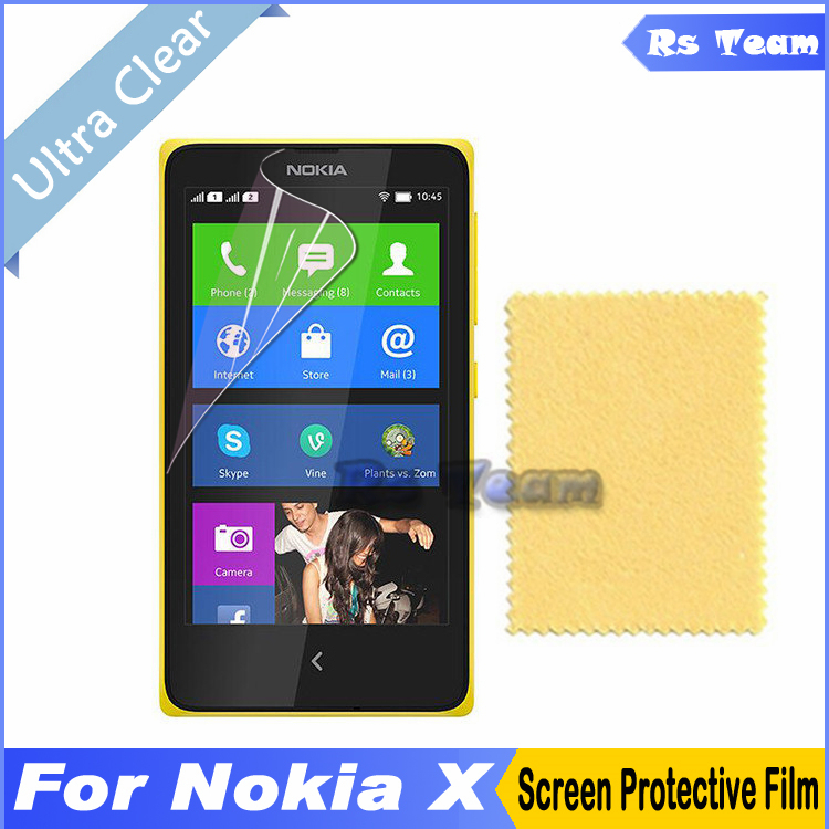 2pcs/lot HD Clear Front Screen Protector Display Protective Film For Nokia X Screen Guard Film With Retail Package(China (Mainland))