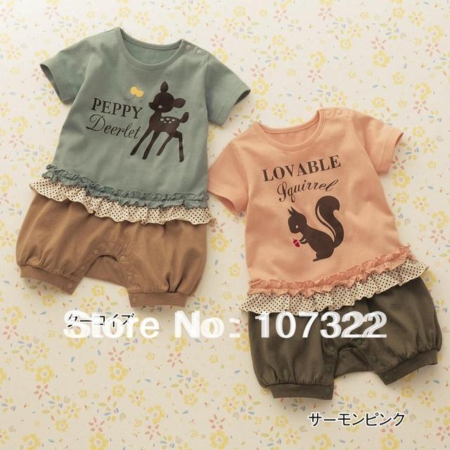 RETAIL 2 colors squirrel&deer style baby girls cartoon romper short sleeve rompers infant rompers 690636L