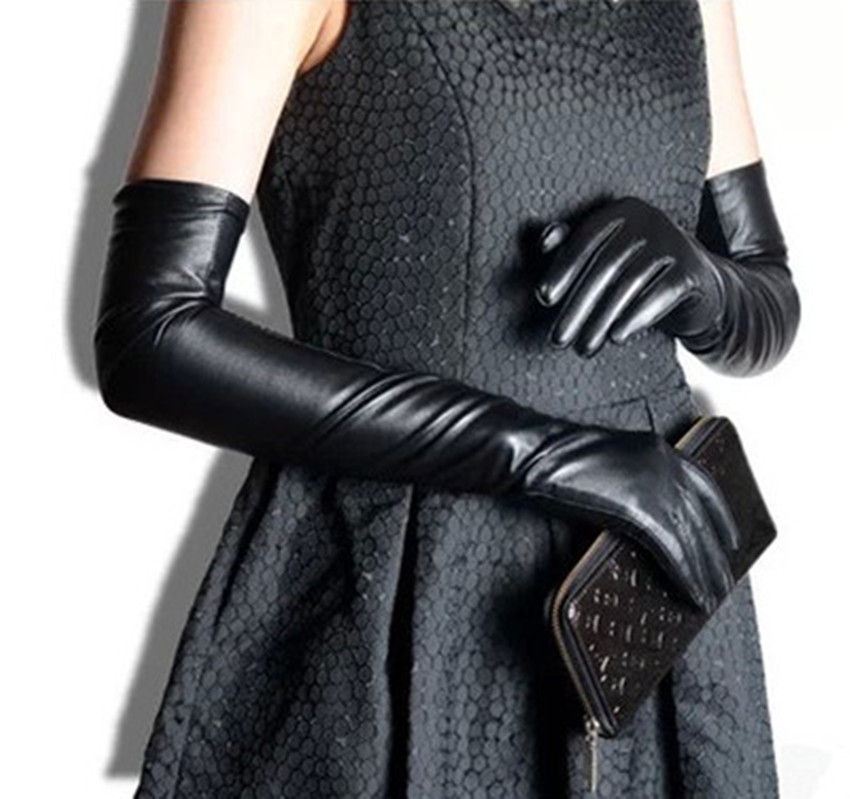 2015 new genuine leather gloves women's long design real sheepskin leather long gloves thermal arm sleeve free shipping F101A(China (Mainland))