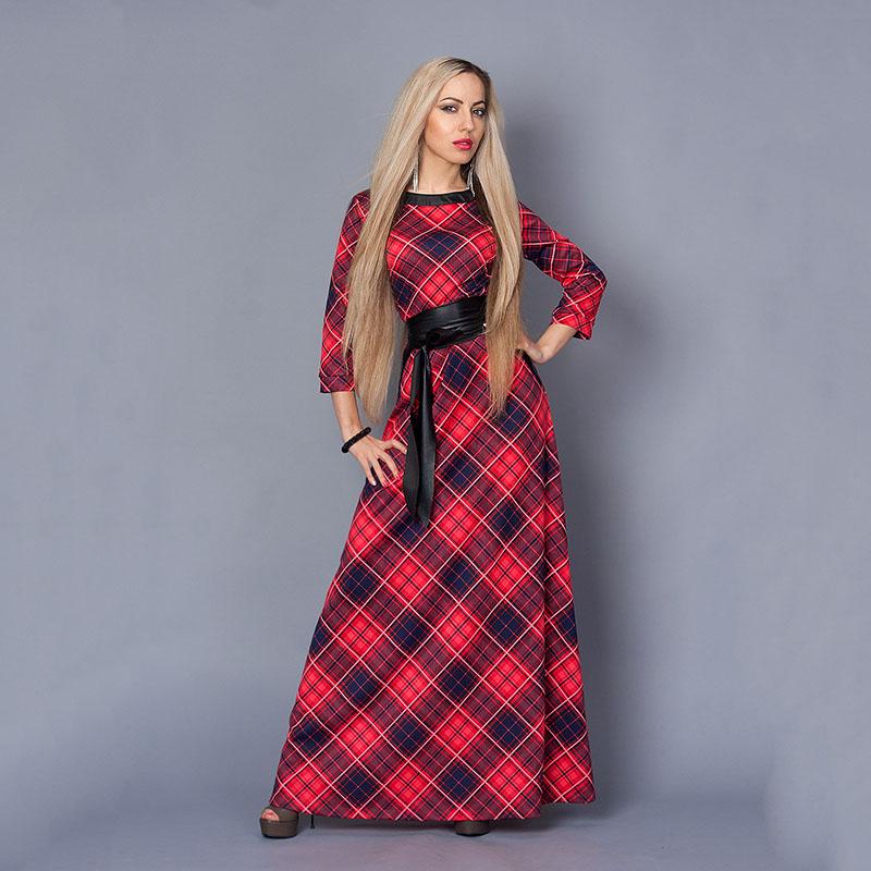 Платье Длинное Шотландка Купить