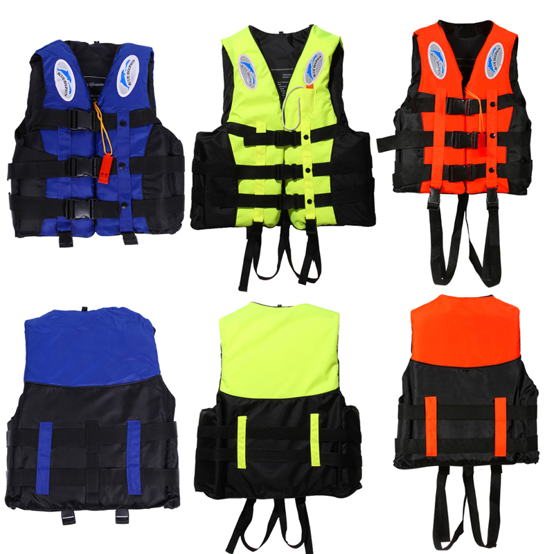 Water Sports Outdoor Polyester Adult Life Jacket Universal Swimming Boating Ski Vest Survival Suit With Whistle Free Shipping(China (Mainland))