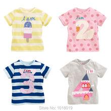 Lucky S Baby Girls Clothing 100% Cotton Toddler Children Kids Clothes Brand 2016 Summer T-Shirt Short Sleeve t Shirt Girl Blouse(China (Mainland))