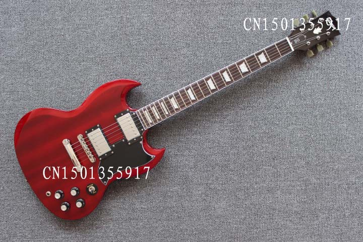 SG electric guitar wine red mahogany body rosewood fingerboard xylophone jade chord button closure()