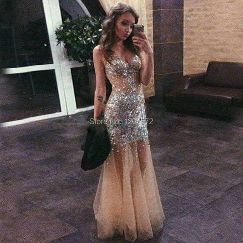 Sexy Champagne Mermaid Prom Dress 2016 Beaded Crystals