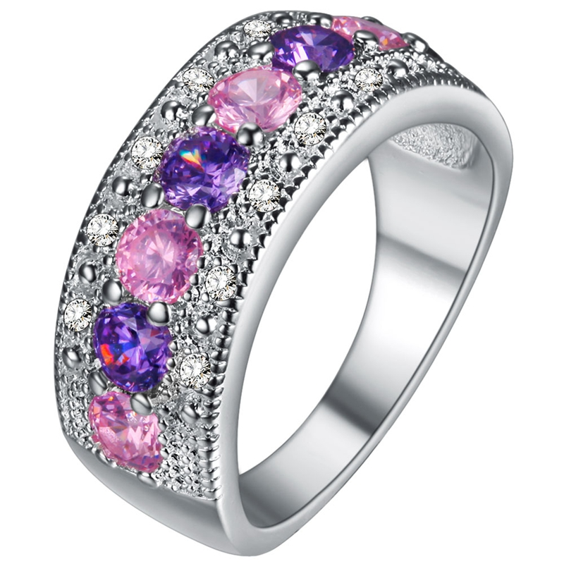 2016 Exquisite Women Jewelry Round Cut Pink & White Sapphire Silver Plated Band Ring Size 6 7 8 9 10 11 12(China (Mainland))