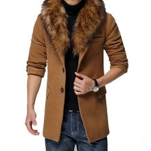 New 2015 Men Winter Wools & Blends Casual Jacket,  Fur Collar Wool Coat Male Trench Overcoat Casaco Masculino ,Plus Size M-5XL(China (Mainland))