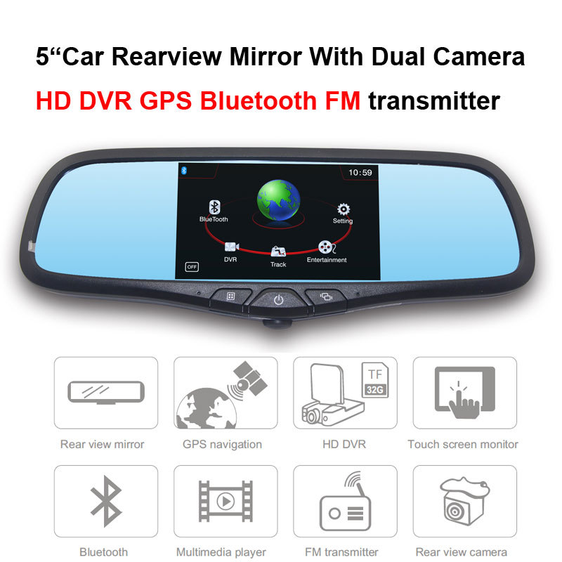 """5""""Car Rearview Mirror With With Dual Camera HD DVR Bluetooth FM transmitter(China (Mainland))"""