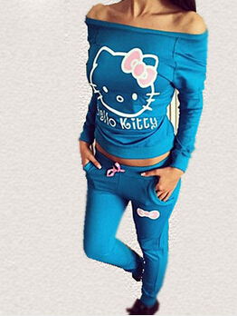 2015 New Women Hello Kitty Printed cotton Sweatshirts Sets Hoodies Cardigans,Sport Suit Women,Tracksuits hoodies and pants(China (Mainland))